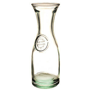 Authentic Recycled Glass Carafe 800ml - Set of 6 - Vintage Green Glass Water Jug