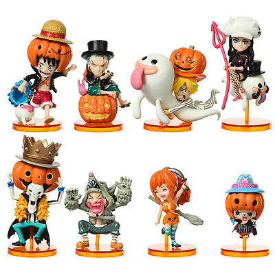 Japanese One Piece Action Figures PVC Set of 8 Toys Dolls 6-9cm Xmas Gift New
