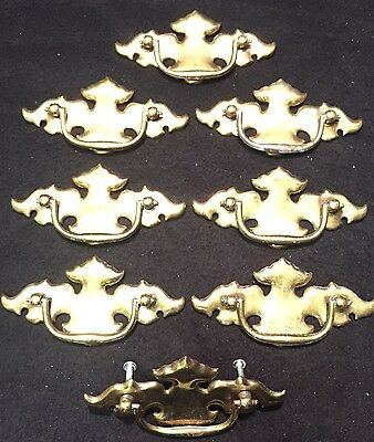 #78 8 Antique Victorian Style Brass Plate Cabinet Drawer Handle Pull Knob Lot
