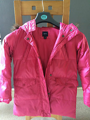 Girls GAP Parka style hooded Pink Coloured Coat with removable trim Age 10-11