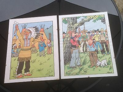 Two Glazed Vintage Herge Tintin Pictures