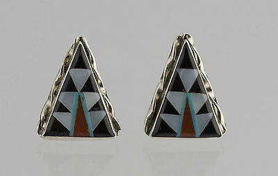 Native American Sterling Silver Jet Coral Zuni Design Inlay Post Earrings