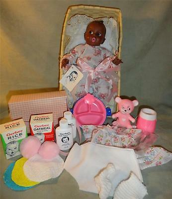 """VINTAGE 1970s 12"""" Black Gerber Baby Doll In Basket With 24 Accessories NEW NWT"""