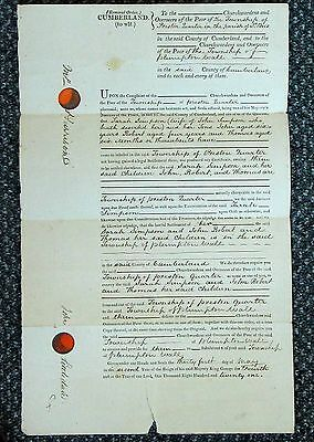 Vintage Removal Order Cumberland from 1821