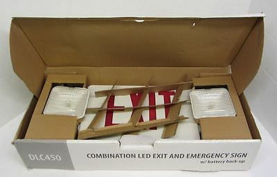 NEW DMF Lighting DLC450R LED Exit Emergency Sign RED Letters Battery 58159