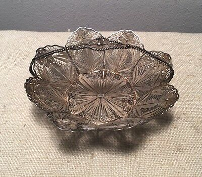 Antique 19th Century Sterling Silver Floral Filigree Footed Basket Dish