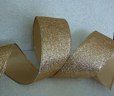 Superwide Gold Sparkle Xmas Ribbon Cakes Bows Wreath Wire Edge 1m Freepost