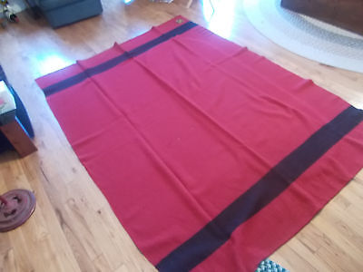 Vtg Trappers Point Pure Wool Blanket 4 Point  Red Black England