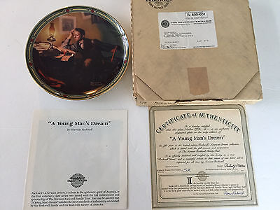 """1986 Norman Rockwell """"A YOUNG MAN'S DREAM"""" American Dream 5th Collector Plate"""