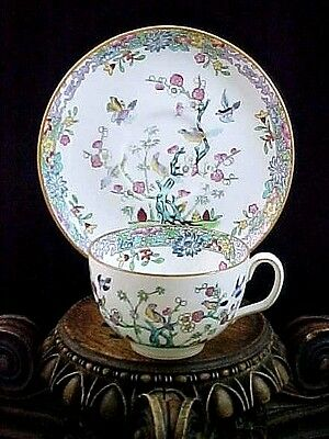 Antique MINTON Polychrome Japonica Blossom Tree & Pheasant Bird Coffee Cup Set