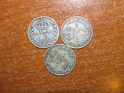 GB England 1902, 1907 and 1908 silver Threepence coin lot Fine nice