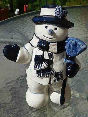 New~ Dedham Pottery Potting Shed Blue & White Crackle~ Large Snowman With Broom
