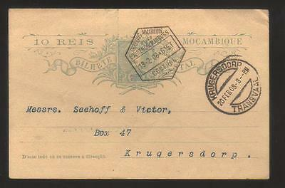 7692- Mozambique , Portuguese Colonies , post card bilhete postal to Transvaal (