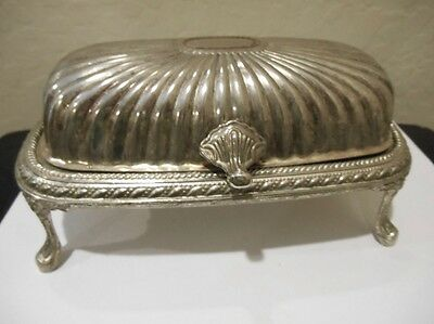 Vintage Roll Top Butter Dish On Feet