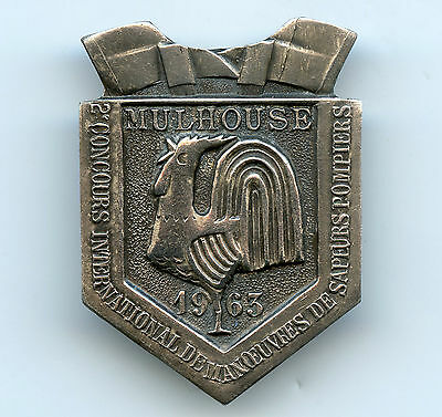 France Mulhouse CTIF 1963 Badge Firefighters Olympics Nice Grade !!!