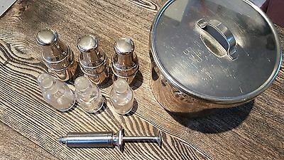 Antique Medical Equipment Medicine Jars / containers Stainless Syringe