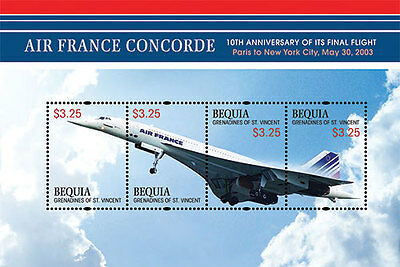 Bequia St Vincent - Airplanes, Air France Concorde, 2013 - Sheetlet of 4 MNH