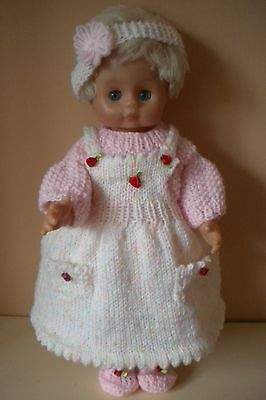 Hand knitted dolls clothes  Pretty Pinafore Set