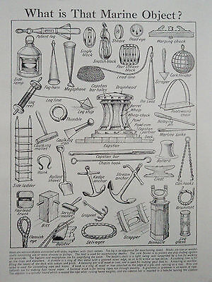 MARINE OBJECTS old vintage retro print BOAT YACHT ANCHOR CAPSTAN HOOK BLOCK