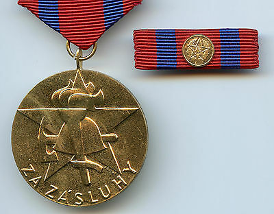 Czechoslovakia Merit Medal Firefighter High Condition  !!!