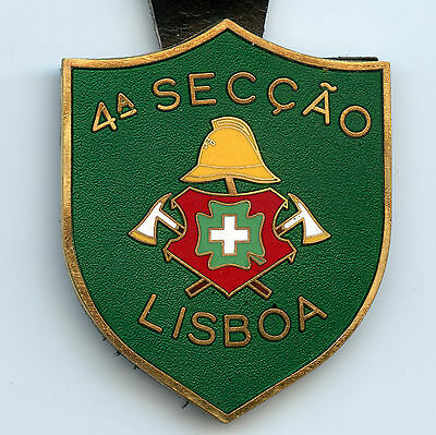 Portugal Firefighter Badge Lisboa Fireman  High Condition !!!