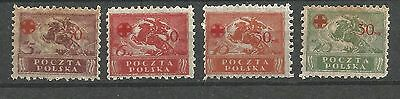 poland,red cross issue,fi:121-124**,mnh