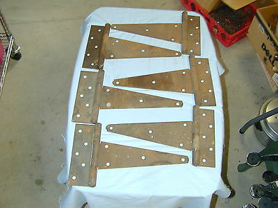 "Vintage lot of 6 Farm Barn Door/Gate T Strap Hinges, Rusty Rustic Decor 7"" x 10"""