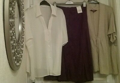Ladies Skirt Blouse and Cardigan short sleeve  Size 24