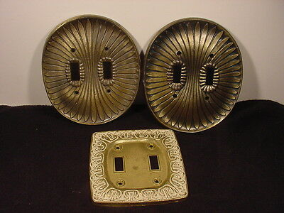 1958 Hollywood Regency Dual Light Switch Plate Light Outlet Covers Lot~Edmar