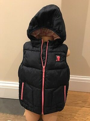 Next Girls Navy Pink Hooded Gilet Coat Sleeveless Jacket Age 4-5