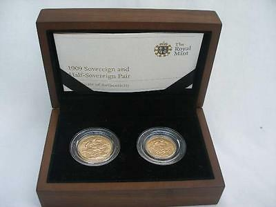 Royal Mint Issue 1909 Sovereign & Half Sovereign Pair With Certificate & Box.