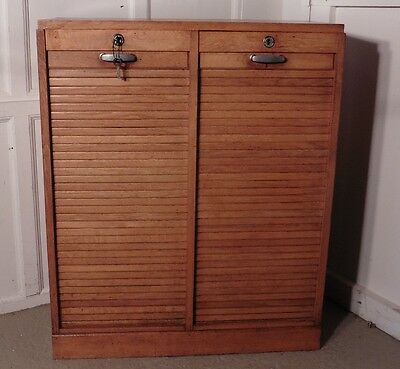 French Tambour Double Fronted Golden Oak Art Deco Filing Cabinet