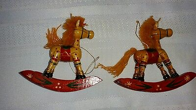 Set of 2 Wooden Rocking Horse Christmas Ornaments