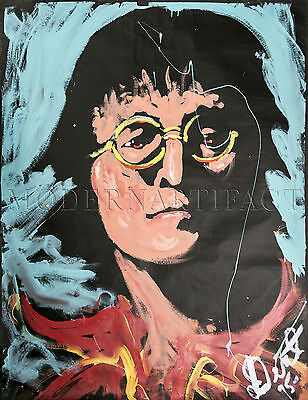 Denny Dent John Lennon Portrait Acrylic on Paper Authentic Painting Best Offer