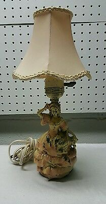 Antique Art Nouveau Metal Victorian Lady Lamp Nice Piece