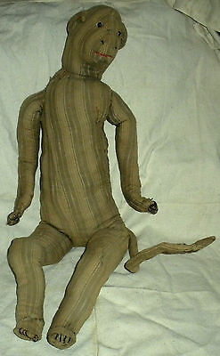 ANTIQUE c. 1850 SAILOR MADE STUFFED MONKEY DOLL FROM EXPEDITION FOLK ART vafo