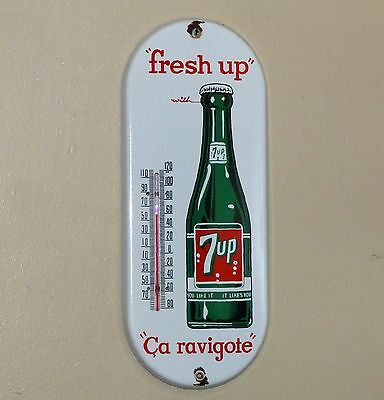 Nice shiny 1950's Canadian 7up porcelain thermometer sign, seven-up  FREE SHIP!