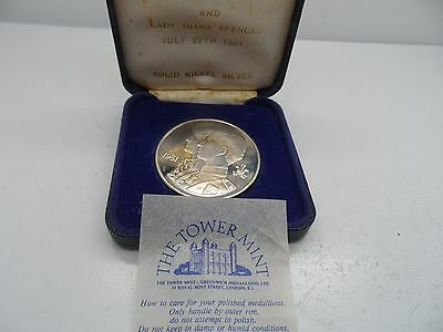 Cased THE TOWER MINT ~ SOLID Nickle Silver COIN ~ CHARLES & DIANA WEDDING