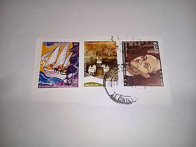 2004/2008 Hellas Greece Franked Cancelled Stamps Post On Paper