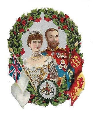Victorian Die Cut Scraps.  King George V & Queen Mary of England Ca. 1920s