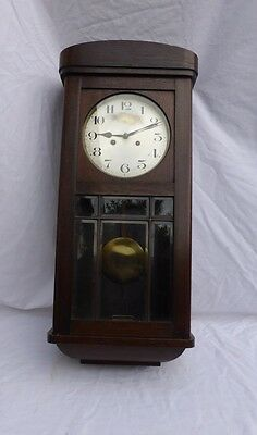German Wall Clock Oak Wood Striking Nr
