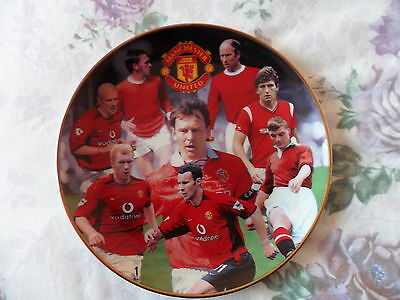 "Manchester United, Fine Porcelain Plate, Danbury Mint ""great Midfielders"""