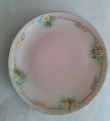 Handpainted Favorite Bavaria Small Dish Plate with Pink Yellow Roses Gold Leaf