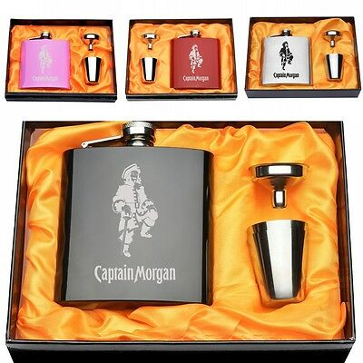 Set Of Engraved Captain Morgan 6OZ Hip Flask Funnel+2 Cup Funny Holiday Gift Box