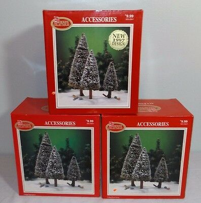 Lot 3 Dickens Collectables Sisal Tree Groves Christmas Village Train Display