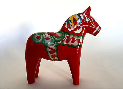 Vintage Carved Wood 17cm Red Dala Horse Nils Olsson Nusnas Sweden Folk Art