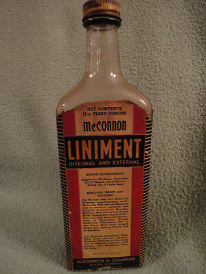 McConnon Liniment Bottle Paper Label 9 in tall Winona Memphis Vintage