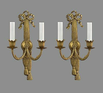 Italian Cast Brass Regency Sconces c1950 Vintage Antique Gold French Style Wall