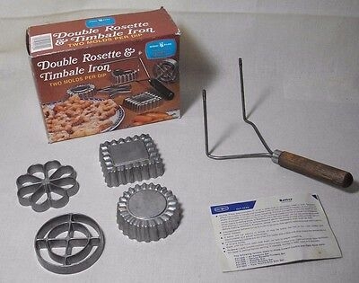 Scandinavian Rosette Cookie & Timbale Shell Iron Set 4 Molds Nordic Ware