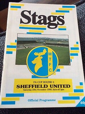 Mansfield Town v Sheffield United 1988/89 FA Cup Programme
